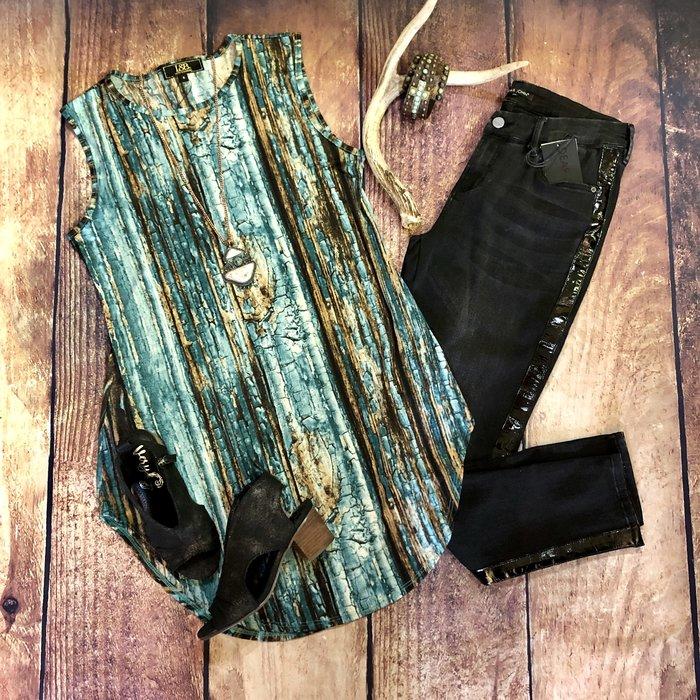 Turquoise Wood Boyfriend Sleeveless Tunic