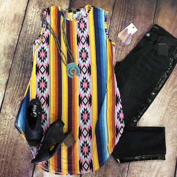 Mustard Pink Aztec Boyfriend Sleeveless Tunic