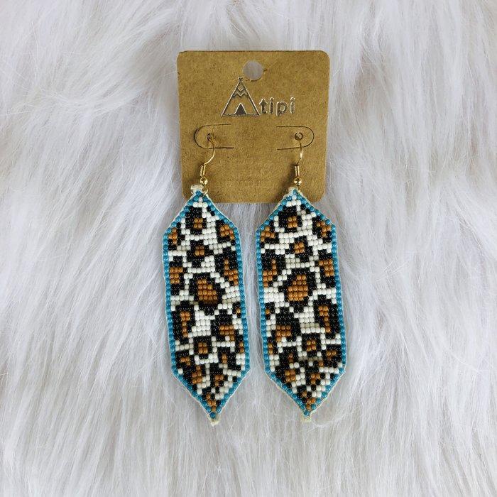 Leopard Print Seed Beaded Long Earrings
