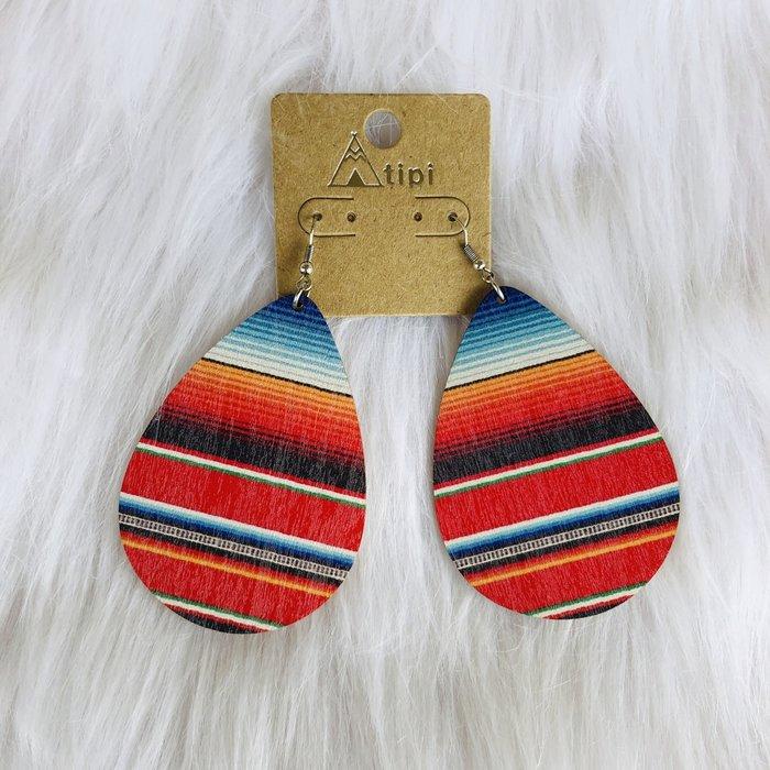 Wooden Serape Print Teardrop Earrings