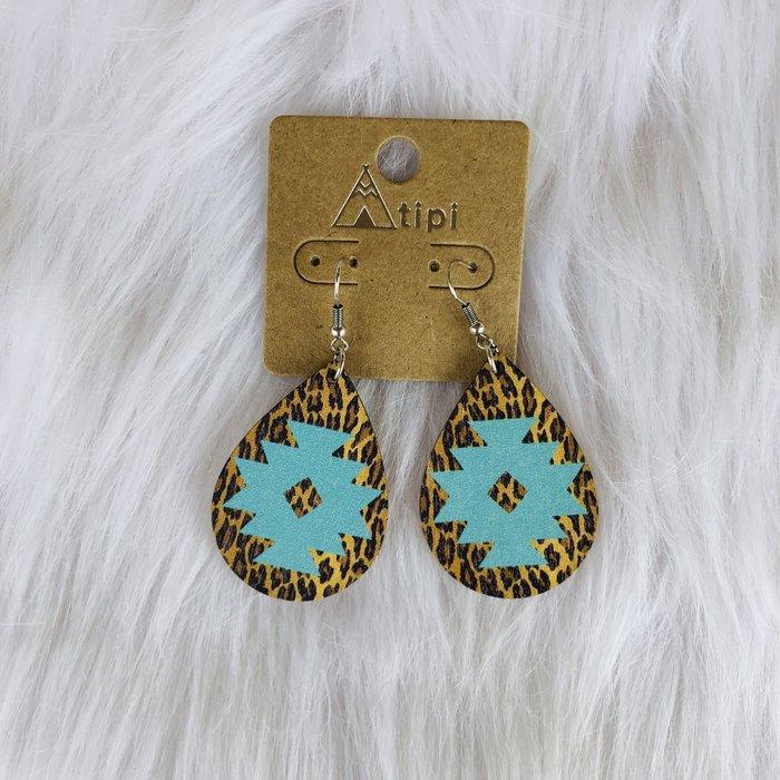 Turquoise Aztec Leopard Teardrop Earrings