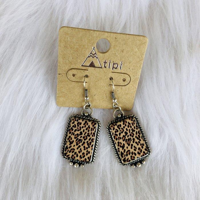 Leopard Painted Silver Bali Style Earrings