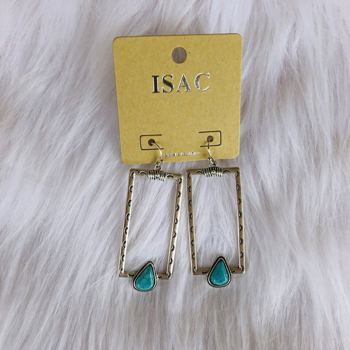 Aztec Open Rectangle Earrings with Turquoise
