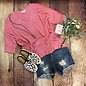 ONE SIZE - Candy Pink Cuffed Sleeve V-Neck Sweater
