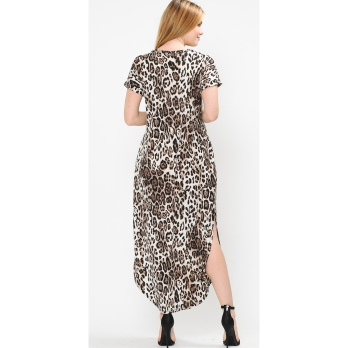 Leopard Cream V-Neck Maxi Dress with Pockets