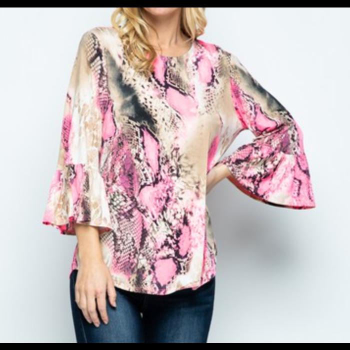 Neon Pink Snake Skin Ruffle 3/4 Sleeve Top