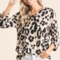 Blush Leopard 3/4 Sleeve V-Neck Waffle Top