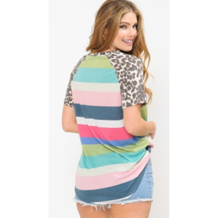 Multi Striped Tunic with Leopard Sleeve & Pocket