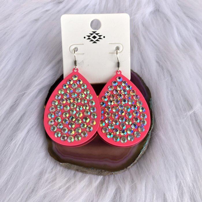 Hot Pink AB Teardrop Crystal Earrings