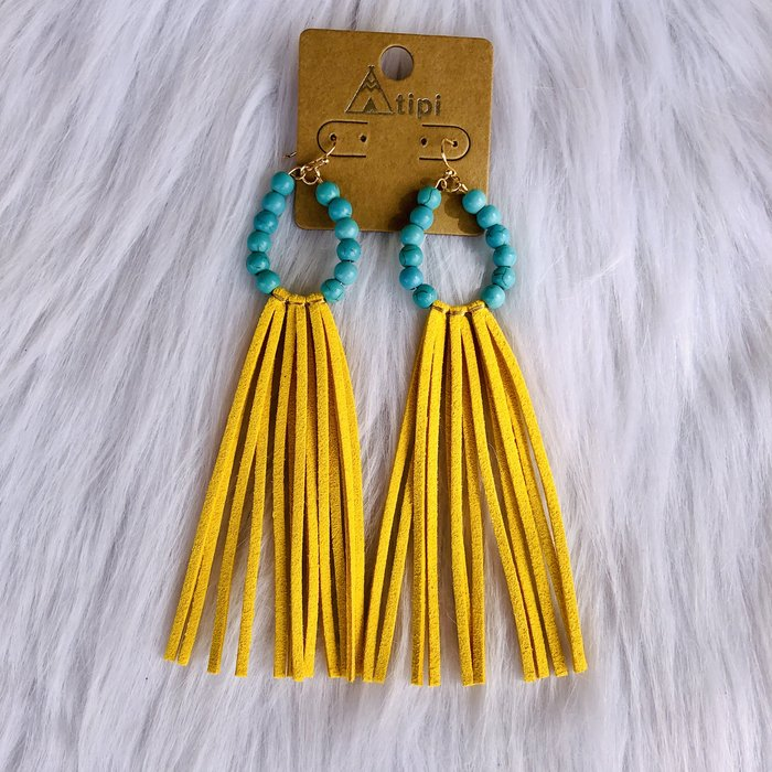 Long Mustard Fringe Turquoise Beaded Earrings
