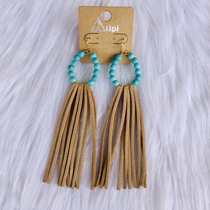 Long Mocha Leather Fringe Turquoise Beaded Earrings
