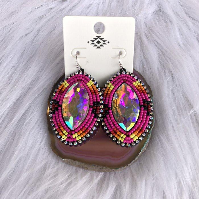 Hot Pink Beaded AB Crystal Earrings