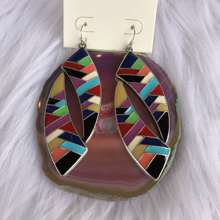 Multi Enamel Color Silver Trim Earrings
