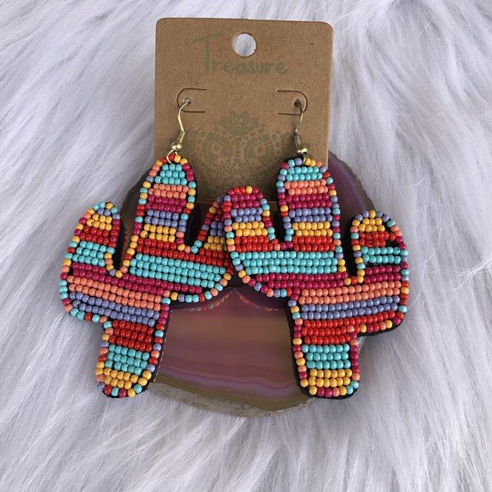 Seed Bead Multi Color Cactus Earrings