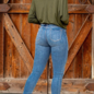 Mid Wash Mid Rise Skinny Jean with Rip Detail