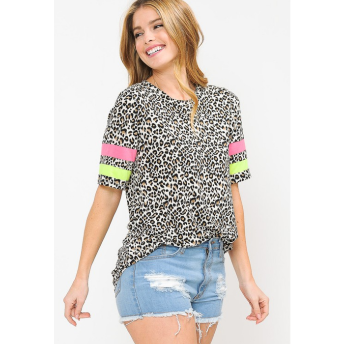 Leopard Neon Striped Short Sleeve Top