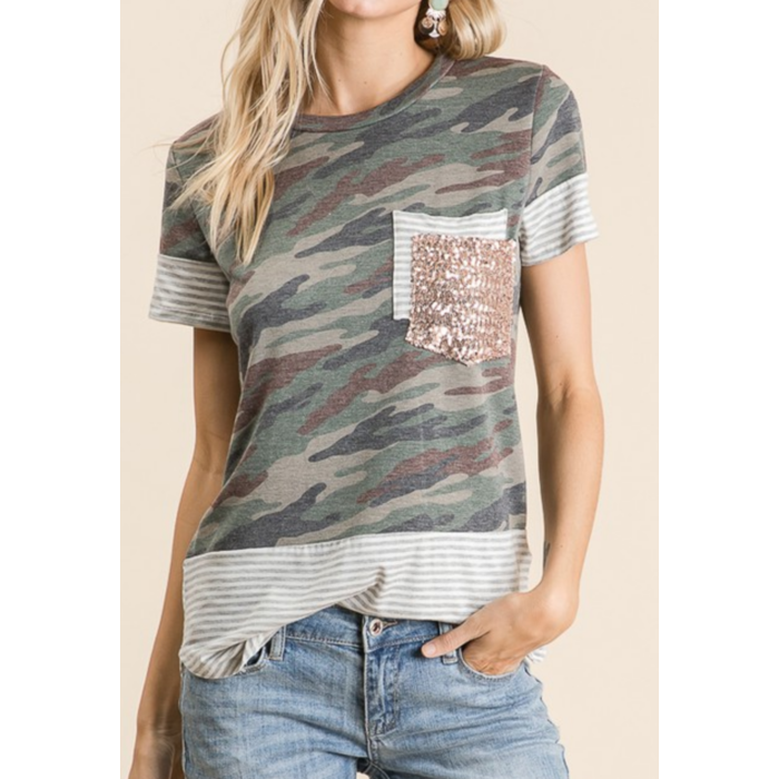 Camo Double Glitter Striped Pocket Tee