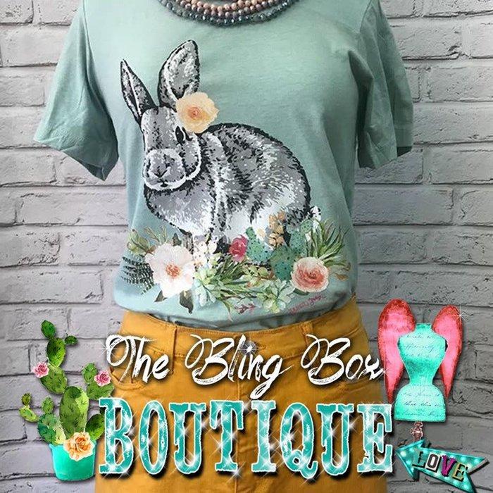 Bunny Foo Foo on Mint Crew Neck T-Shirt