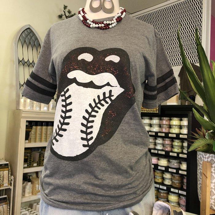 Baseball Maroon Tongue Sport Tee