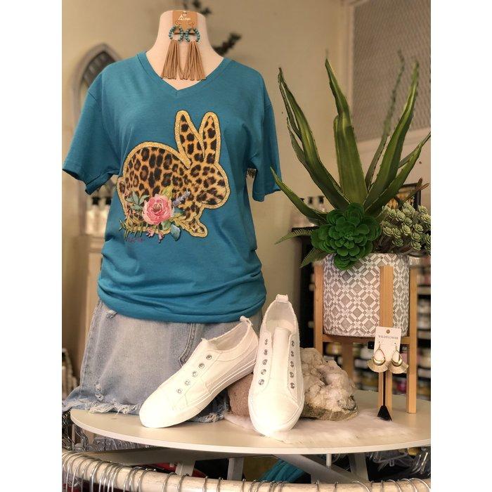 Leopard Easter Bunny V-Neck Turquoise T-Shirt