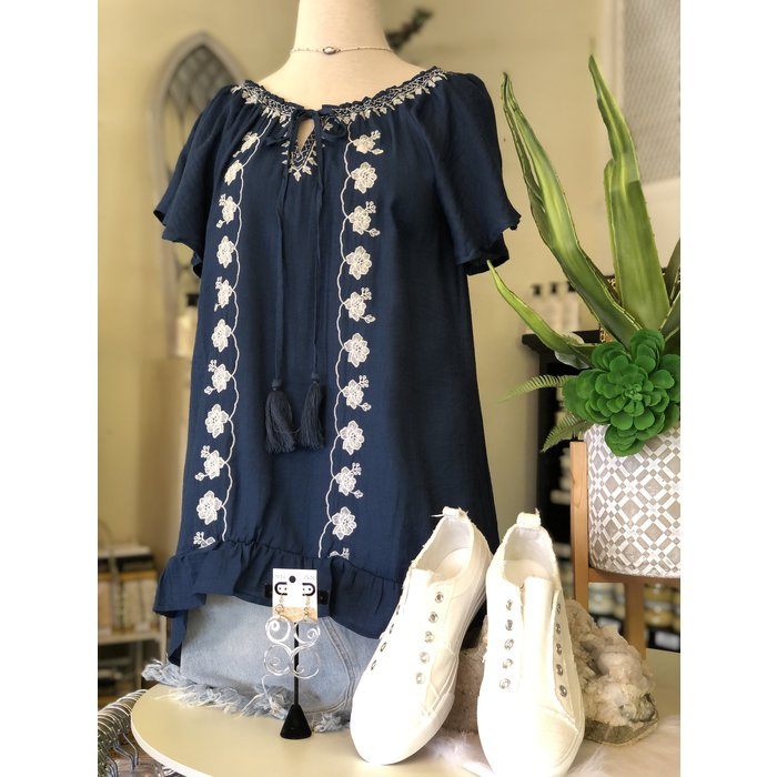 Front Tie Embroidered Navy Top