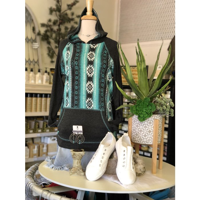 Turquoise Aztec Print and Charcoal Pullover Hoodie