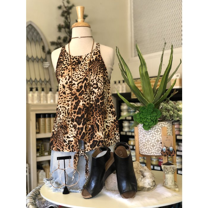 Wild Leopard Tank with Front Tie Top