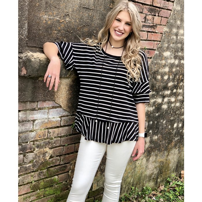 Black and White Striped Back Ribbon Tie Top