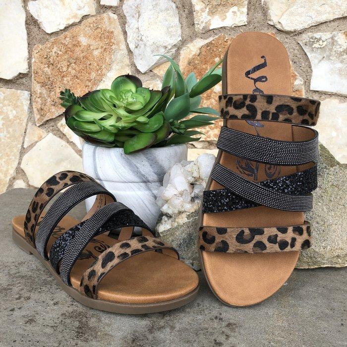 Ginger Tan Leopard Glitter Sandal