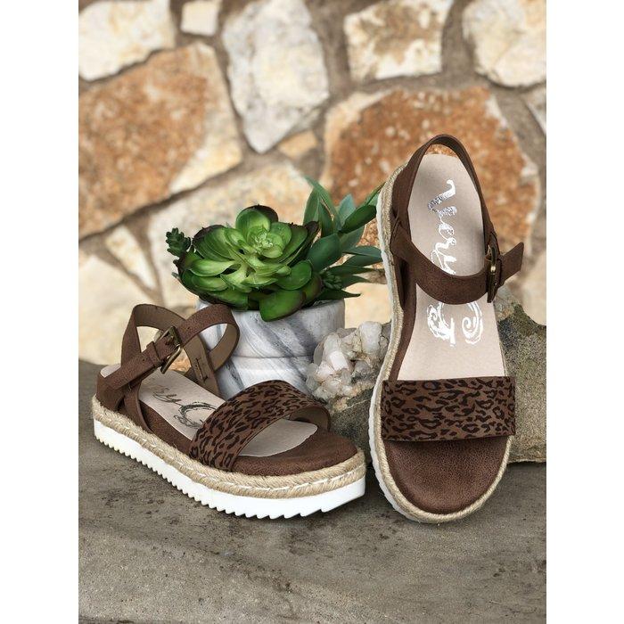Leopard - Glossy White Bottom Sandal