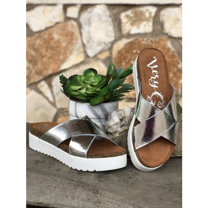 Silver Elena Criss Cross Sandal