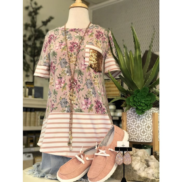 Dusty Pink Striped Floral Double Gold Pocket Tee