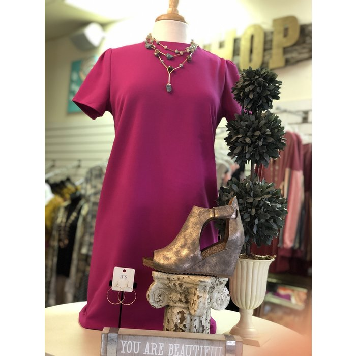 Solid Magenta Pink Short Sleeve Shift Dress