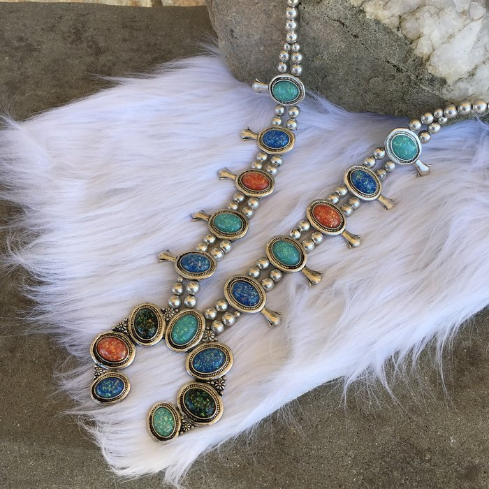 """27"""" Silver Concho Multi Glitter Stone Necklace Set"""