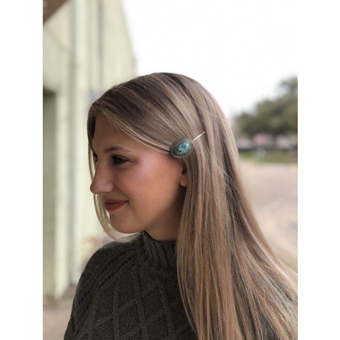 Oval Turquoise Stone Hair Barette