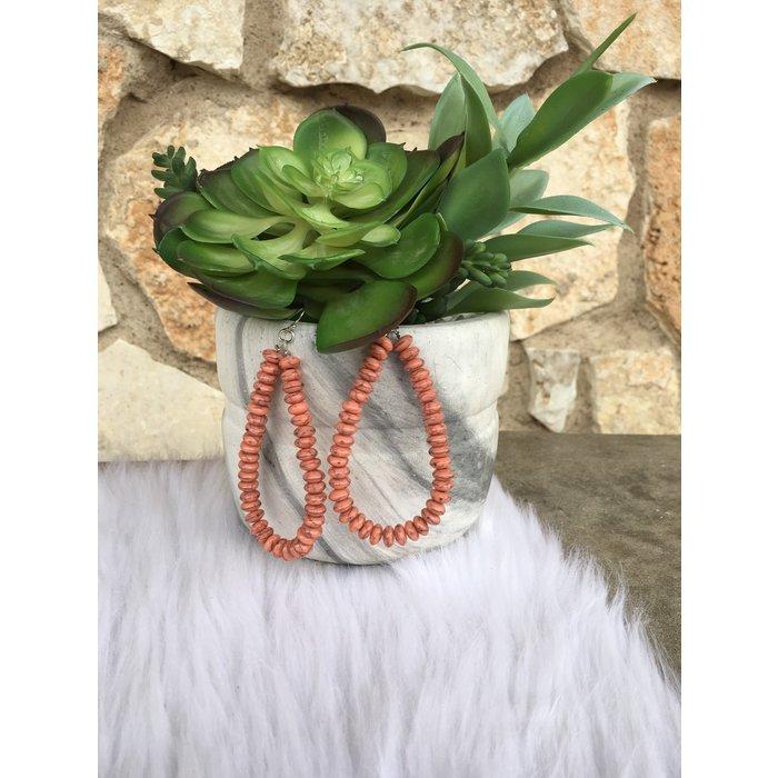 Coral Beaded Teardrop Hoop Earrings