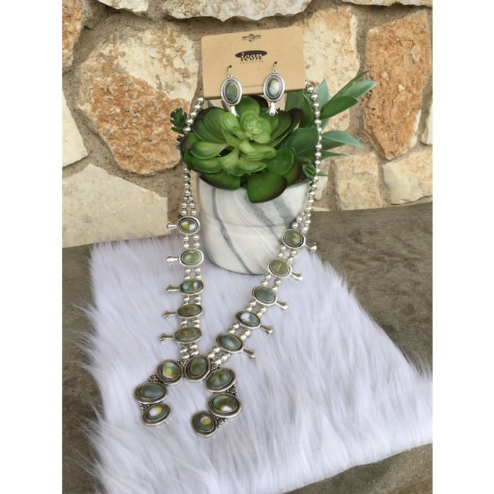 """27"""" Silver Concho Green Marble Stone Necklace Set"""