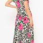 Hot Pink Rose Leopard V-Neck Maxi Dress