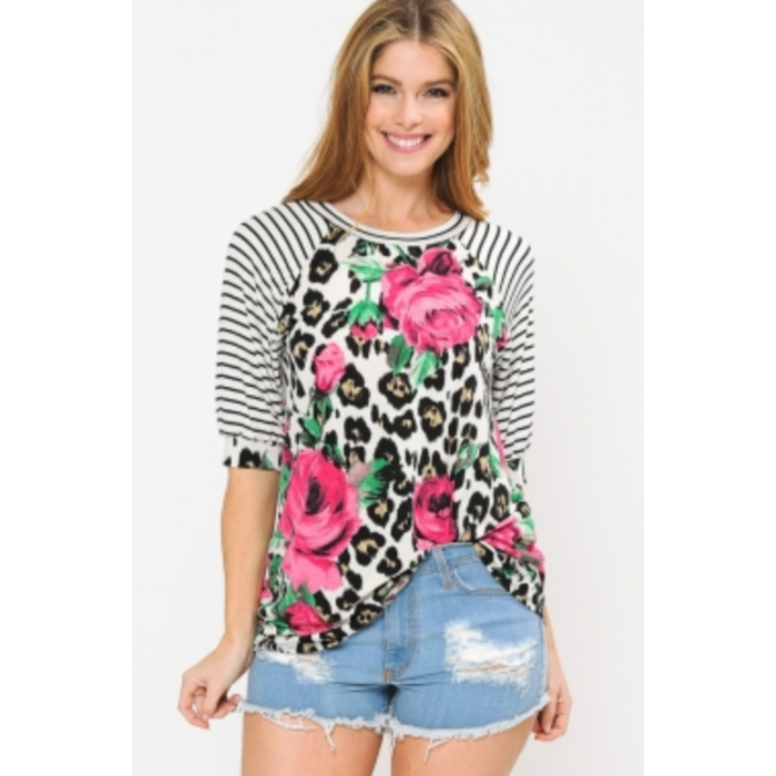 Hot Pink Rose Leopard Striped Sleeve Top