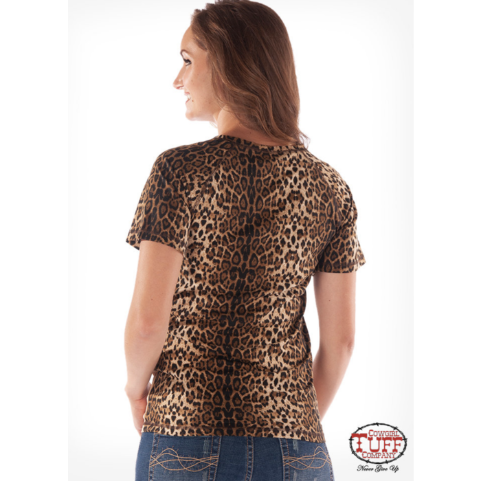 Tan & Leopard Painted Horse Top