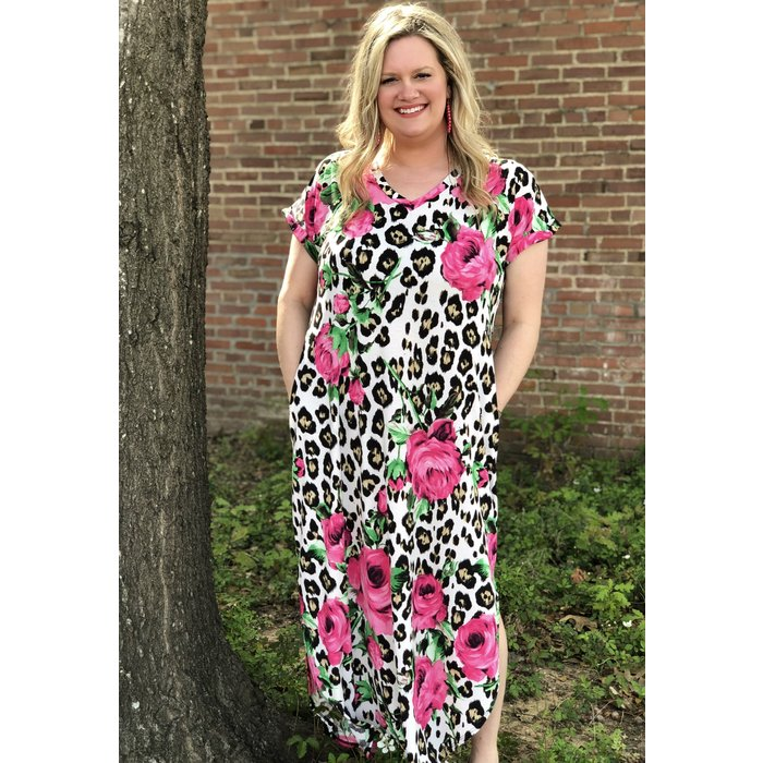Hot Pink Rose Leopard V-Neck Maxi Dress
