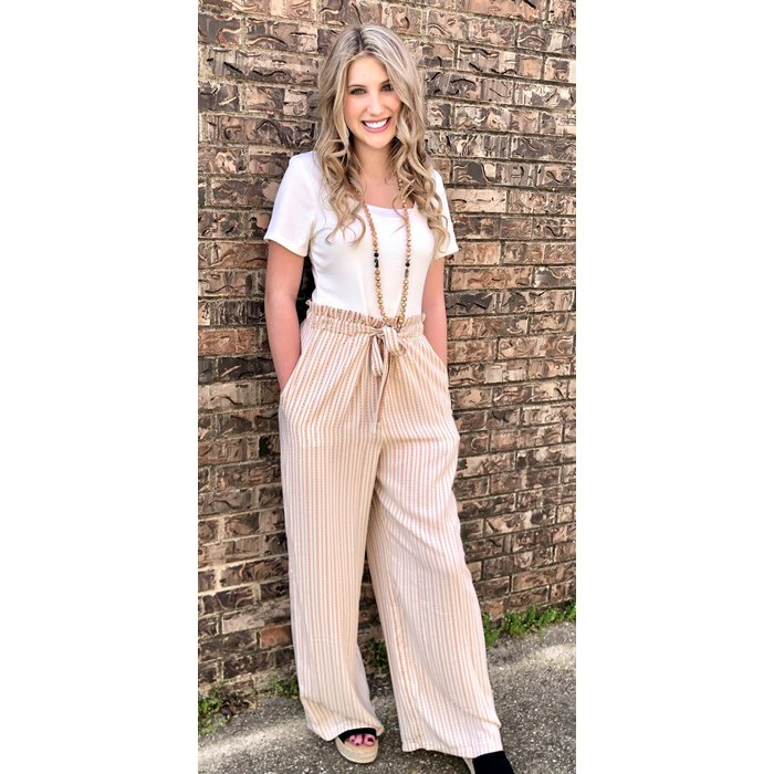 Paperbag Striped Jumpsuit