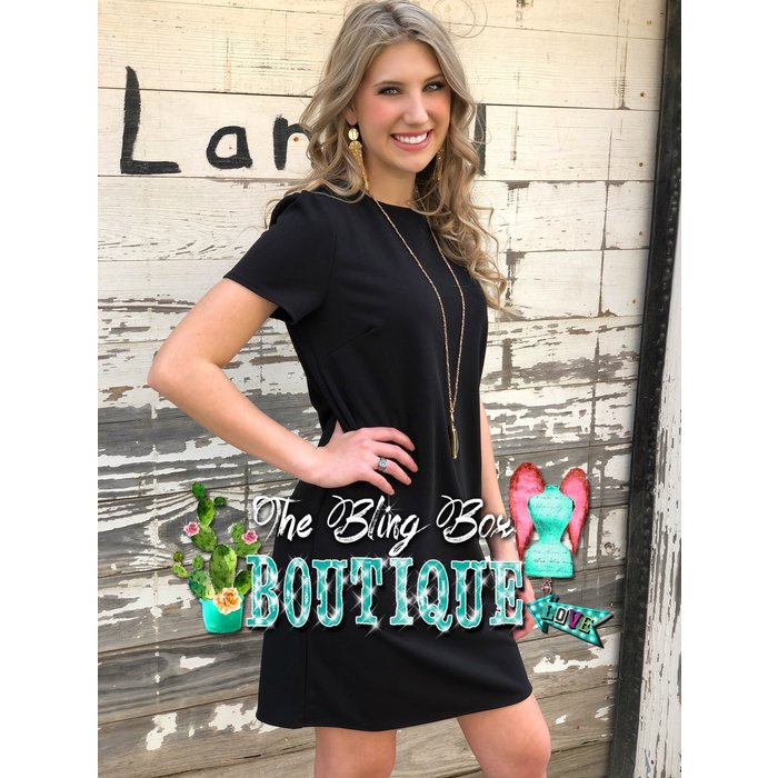 Solid Black Short Sleeve Shift Dress