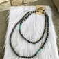 """48"""" Silver Navajo Pearl & Turquoise Stone Necklace Set"""