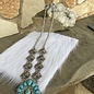 "32"" Silver Concho Turquoise Stone Necklace Set"