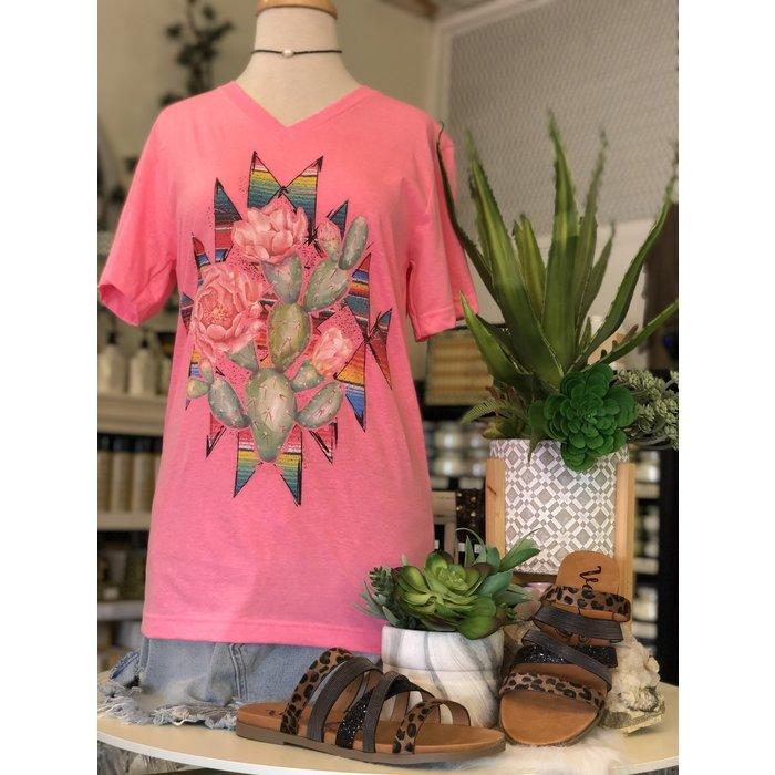 Hot Pink V-Neck Cactus Rose Serape Aztec Tee