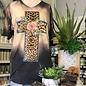 Bleached Leopard V-Neck Cross Top