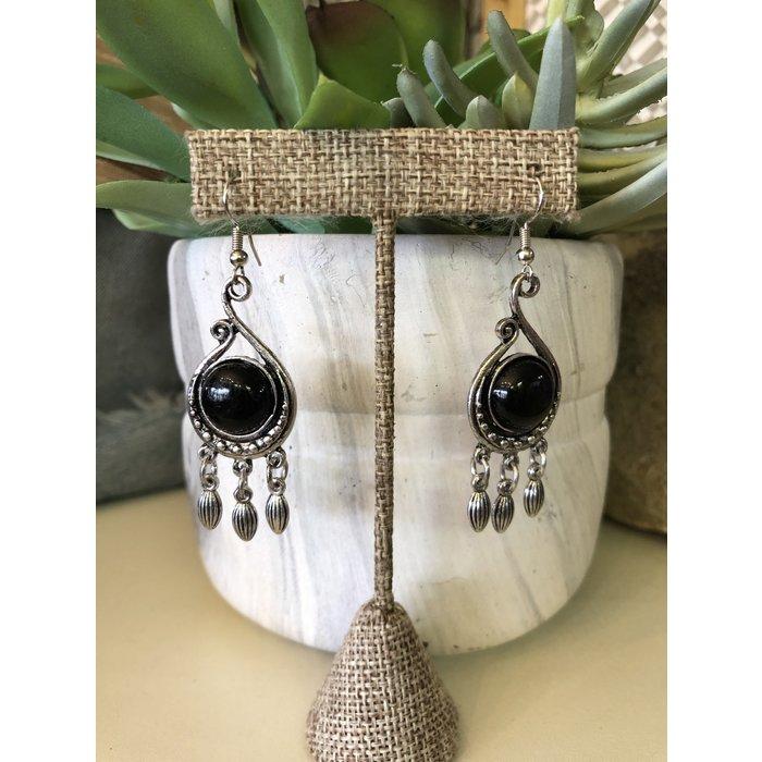 Black Stone on Silver Swirl Dangle Earrings