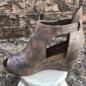 Bronze Sunburst Open Toe Wedge Shoe