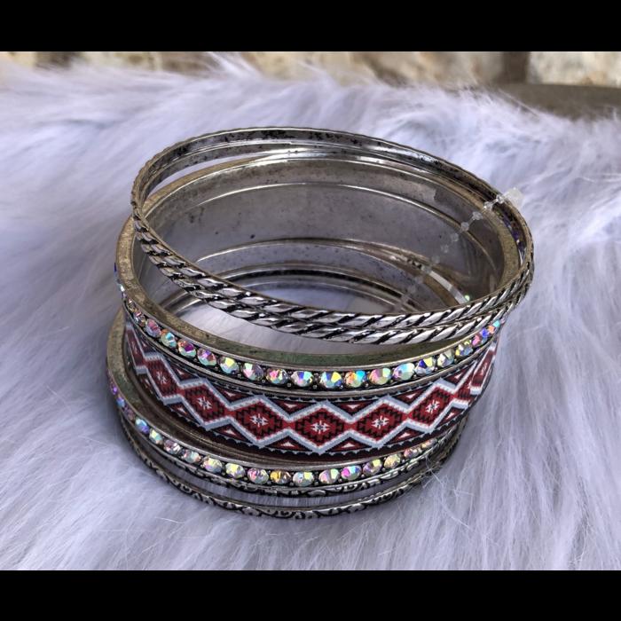 Red Aztec AB Crystal Silver Bangle Bracelet Set